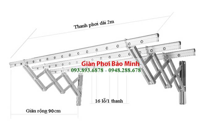 Giàn Phơi Thông Minh Gắn Tường GT-01 Chất lượng, nhập khẩu